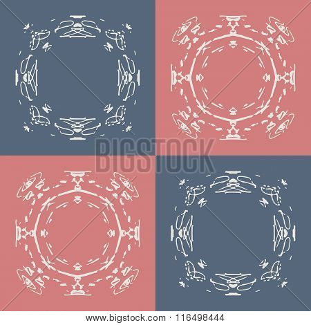 Seamless pattern with abstract hand drawn frames