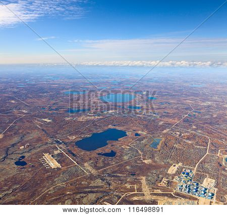 Gas Or Oilfield In Tundra, Top View