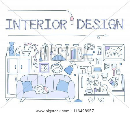 Interior design, improved interior, apartment, housing. graphic image concept, website elements. Lin
