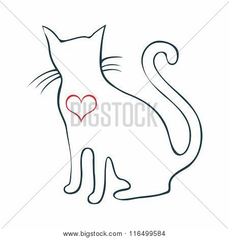 Hand Drawn Cat With Big Heart