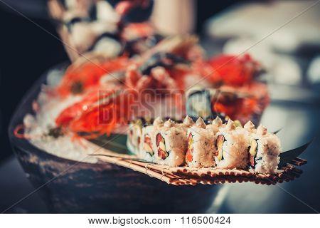 Japanese seafood sushi many tasty fresh Japanese sushi with tuna, caviar and shrimps