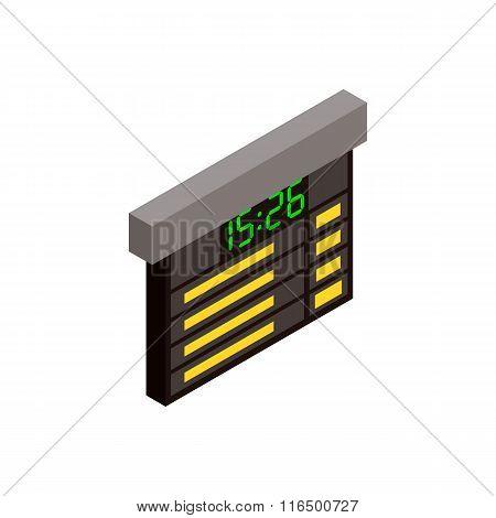 Railway time table isometric icon