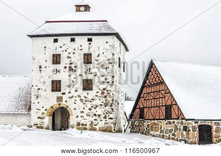 Hovdala Castle Gatehouse In Winter