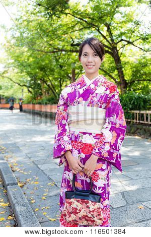 Woman with beautiful kimono