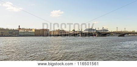 View From Neva River On Blagoveshchenskij (annunciation) Bridge