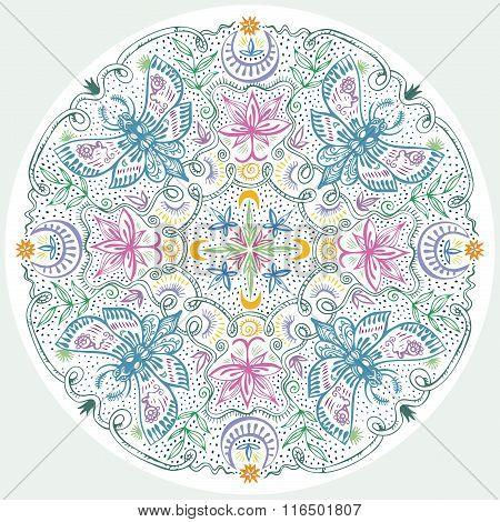 Colorful Lacy Indian Style Mandala