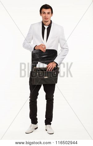 Young employee with briefcase.