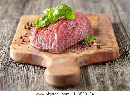 Raw beef with fresh spices