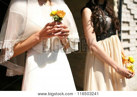 Gorgeous Stylish Elegant Bride And Bridesmaid Holding Colorful Boutonniere