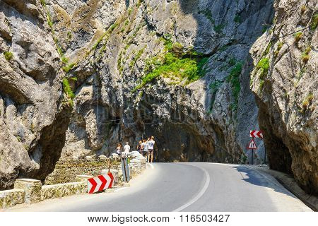 Bicaz Gorges, Romania - July 07, 2015 : Tourists Visit The Bicaz Canyon. Canyon Is One Of The Most S