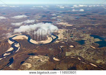 Tundra River In Autumn, Top View