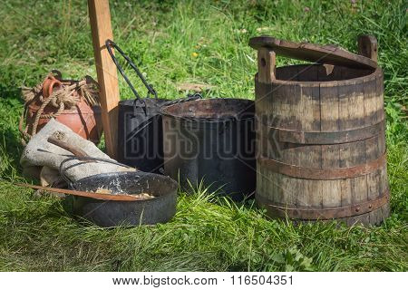 Antique Wood Bucket On Green Grass