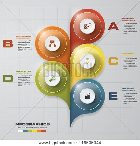 5 steps Infographics vector design template. Simple&Editable for your sample text.