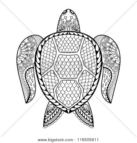 Hand drawn sea Turtle for adult coloring pages in doodle, zentan