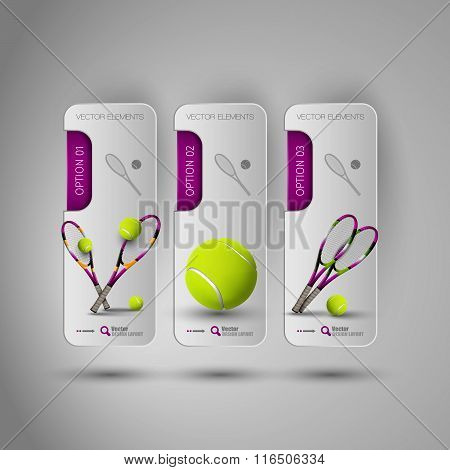 Realistic Tennis Objects On The Gray Business Banners As Design Infographic Elements.