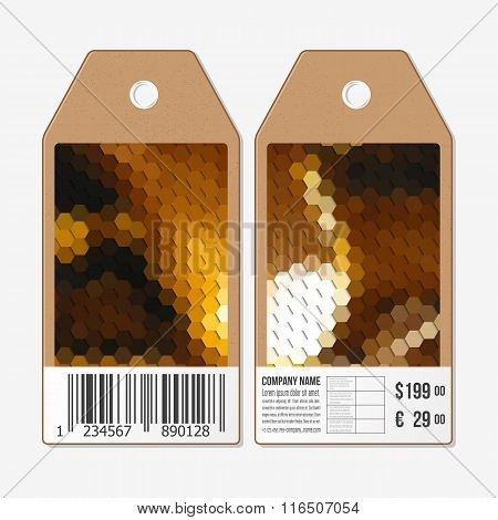Vector tags design on both sides, cardboard sale labels with barcode. Polygonal design, colorful geo