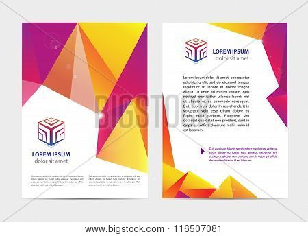 Vector document, letter or logo style cover brochure and letterhead template design mockup set for b
