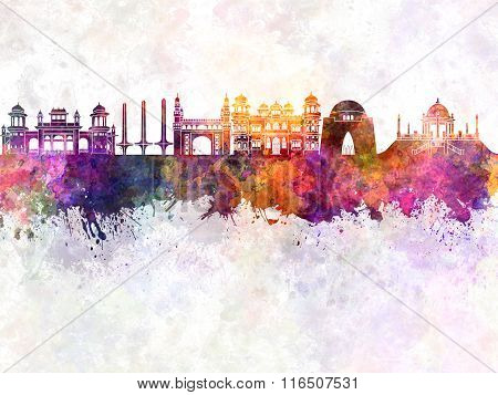 Karachi Skyline In Watercolor Background