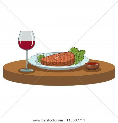 Grilled Steak and a glass of wine