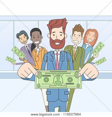Business People Group Hold Dollar Banknote Concept Finance Investment