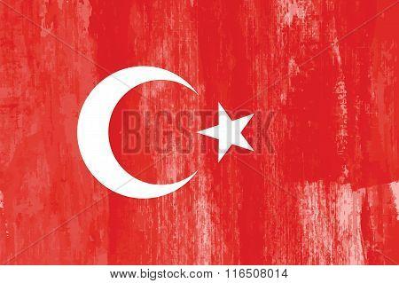 Turkey country flag grunge vector