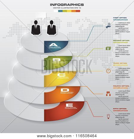 5 Steps abstract business fold chart. Design clean number banners template.
