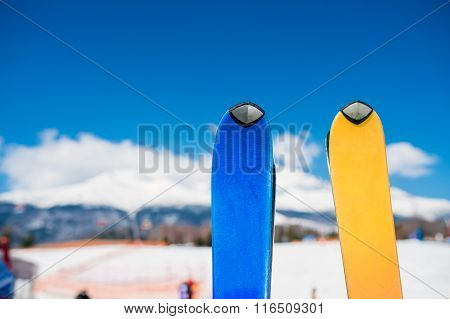 Close up of two pair of skis