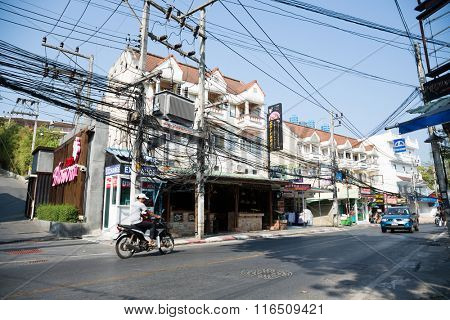 KATA BEACH, THAILAND - CIRCA FEBRUARY, 2015: Electrical and communication wires in the streets on Kata Beach.