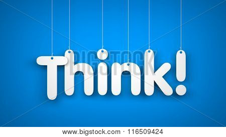 Think - word hanging on the ropes