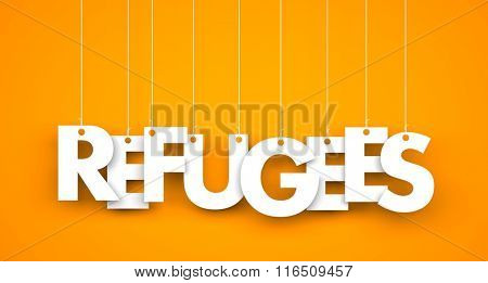 Refugees - word hanging on the ropes