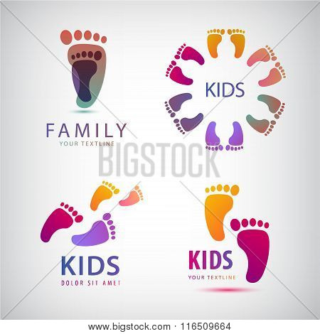 Vector set of feet steps, footprints logos