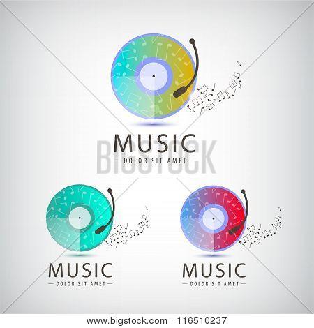 Vector retro vinyl music logo, icons