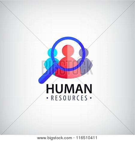 Vector human resources, people search, hr logo, icon