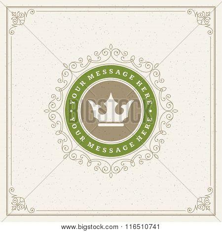 Royal Logo Design Template. Flourishes calligraphic elegant ornament lines