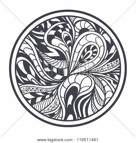 Abstract background in Zen-tangle  Zen-doodle style black on white in circle