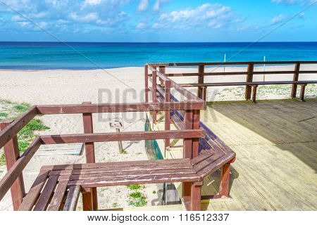 Wooden Terrace By The Sea In Sardinia