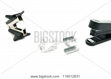 Stapler And Black Staple Remover