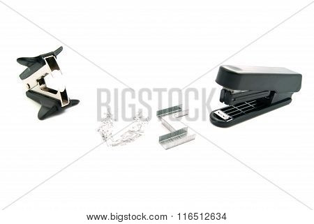 Stapler And Staple Remover On White