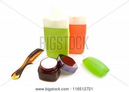 Bottles With Gel And Soap On White