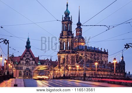 Dresden Architecture From Augustus Bridge