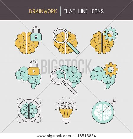 Flat line brainwork icons set