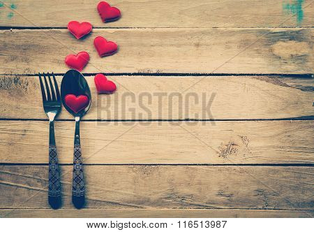 Valentines Day Dinner With Table Setting In Rustic Wood For Vintage Style.