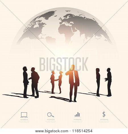 Modern Infographic For Business Project With Silhouette People