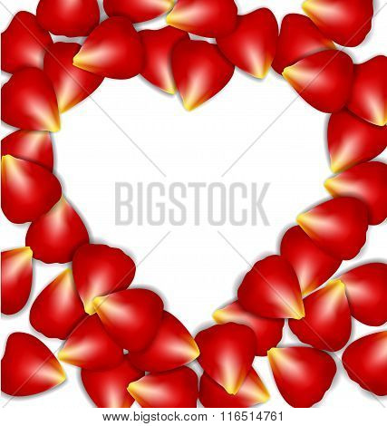 Heart Frame From Red Rose Petals