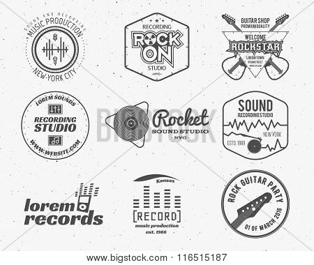 Set of vector music production logo,label, sticker, emblem, print or logotype with elements - guitar
