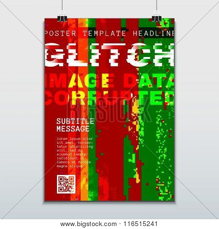 Colored Glitch Design Background Poster Template.