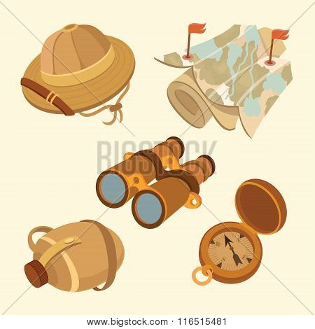 Tourist travel and camping illustration icon set: hat, compass, map, water bottle, binoculars