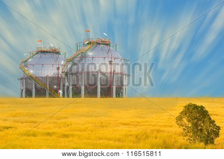 Petrochemical Spherical Shape Tank With Blue Sky Background.