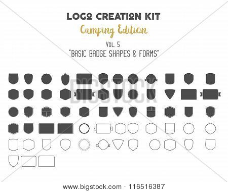 Logo creation kit bundle. Camping Edition set. Basic badge shapes, vector forms, symbols and element