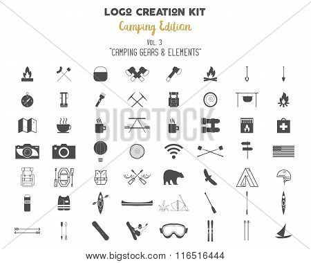 Logo creation kit bundle. Camping Edition set. Travel gear, vector camp symbols and elements. Create
